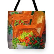 Twin Benches Tote Bag