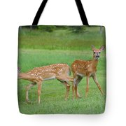 Twin Fawns Playing Tote Bag