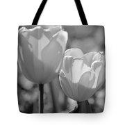 Twin Tulips B/w Tote Bag
