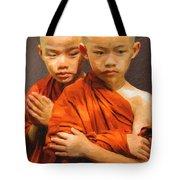 Twins In Orange Tote Bag