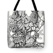 Twisted Willow Fairy House With Oak Leave Roof Tote Bag