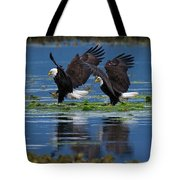 Two American Bald Eagle Touching Down At Low Tide Tote Bag