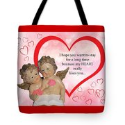 Two Angels And The Heart Tote Bag