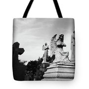 Two Angels Joseph, Jesus And A Bold Cross In A Cemetery Tote Bag