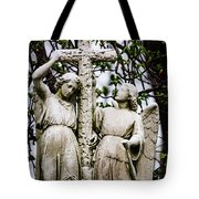 Two Angels With Cross Tote Bag