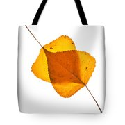 Two Backlit Cottonwood Leaves In Autumn On White Tote Bag