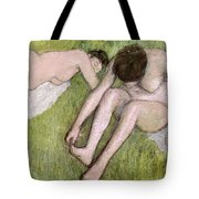 Two Bathers On The Grass Tote Bag