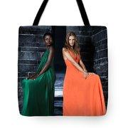 Two Beautiful Women In Elegant Long Dresses Tote Bag