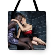 Two Beautiful Women Sitting Together Tote Bag