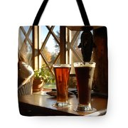 Two Beers At The Lodge Tote Bag
