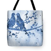 Two Birds On A Flowering Branch-blue Tote Bag