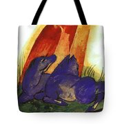 Two Blue Horses In Front Of A Red Roc 1913 Tote Bag