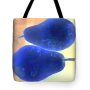 Two Blue Pears On Peach Stacked Tote Bag