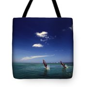 Two Bottlenose Dolphins Dancing Across Tote Bag