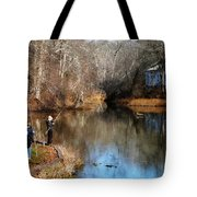 Two Boys Fishing Tote Bag