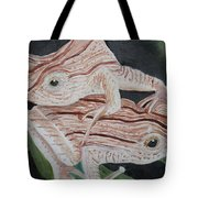 Two Brown Striped Frogs Tote Bag