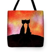 Two Cats And Sunset Silhouette Tote Bag