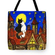 Two Cats On The Roof Tote Bag