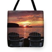 Two Chair Sunset Tote Bag