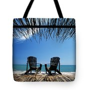 Two Chairs On Deck By Ocean Shaded By Tote Bag