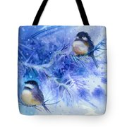 Two Chickadees In Snow Tote Bag