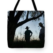 Two Children In Cowboy Hats Tote Bag