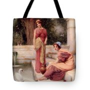 Two Classical Maidens And A Swan Tote Bag