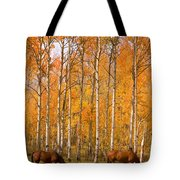 Two Colorado High Country Autumn Horses Tote Bag