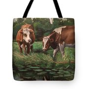 Two Cows By A Pond Tote Bag