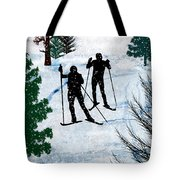 Two Cross Country Skiers In Snow Squall Tote Bag