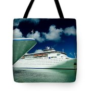 Two Cruise Ships Docked At A Caribbean Tote Bag