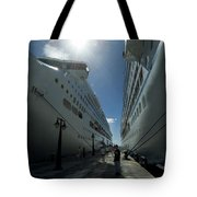 Two Cruise Ships On Either Side Tote Bag