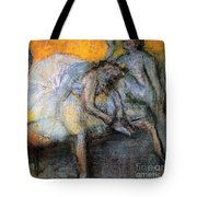 Two Dancers In Yellow And Pink Tote Bag
