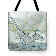 Two Egrets In Water I Glow Brilliant On White II Tote Bag