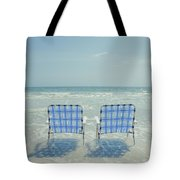 Two Empty Beach Chairs Tote Bag