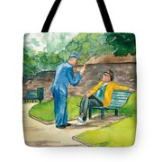 Two Englishmen In Conversation  Tote Bag