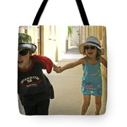 Two Excited Children Tote Bag