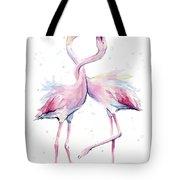 Two Flamingos Watercolor Famingo Love Tote Bag