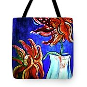 Two Flowers With Vase Tote Bag