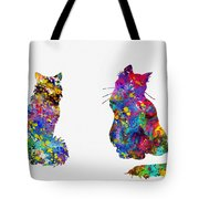 Two Fluffy Cats-colorful Tote Bag