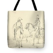 Two French Cavalrymen On Horseback Tote Bag