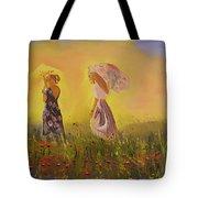 Two Friends Walking In The Field Tote Bag