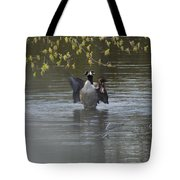 Two Geese On A Pond Tote Bag