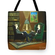 Two Gentlemen Sitting In Wingback Chairs At Private Club Tote Bag