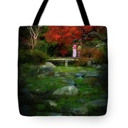 Two Girls In Kimono Standing On A Bridge In Japanese Garden In A Tote Bag