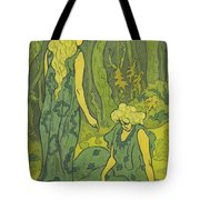 Two Girls Next To The Head Of Orpheus Tote Bag