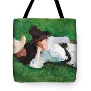 Two Girls On A Lawn Tote Bag