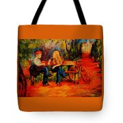 Two Girls With A Byke Tote Bag