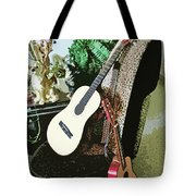 Two Guitars On A Shoe Chair Tote Bag