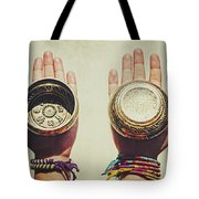Two Hands Holding And Showing Both Sides Of Decorated Tibetan Singing Bowls Tote Bag